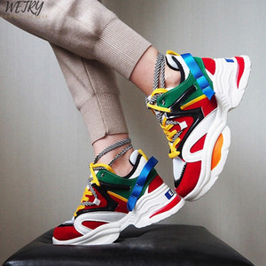2020 NEW Stylish Woman Running Shoes Increasing 6CM INS High Heel Sneakers Women Height Platform Breathable Sports Walking Girls