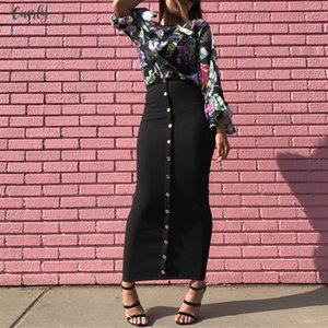 Size Plus 2020 Summer Abaya Musulmane Women High Waist Button Bodycon Maxi Skirt Long Turkish Islamic Skirts Clothing Femme