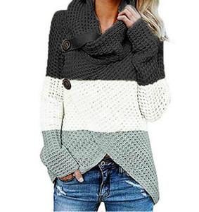 Mujeres del diseñador de moda remiendo suéteres de rayas suéteres de impresión casual de manga larga de cuello de tortuga suéteres Ropa