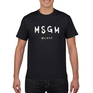 الأزياء MSGM طباعة رجال 100٪ قطن تي شيرت الصيف المحملة تجريب الذكور القمصان قصيرة الأكمام قمم طباعة هذه الرسالة