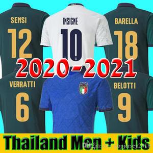 2020 년 2021 BARELLA SENSI INSIGNE 홈 멀리 축구 유니폼 (20 개) (21) 유럽 컵 르네상스 키엘리니 BELOTTI 이탈리아 축구 셔츠 남자 아이 세트
