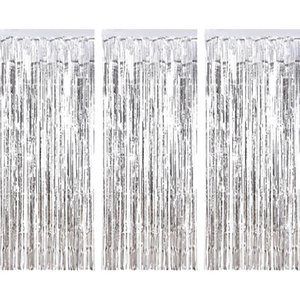 3 Pack Silver Metallic Foil Tinsel Fringe Curtain Birthday Party Decoration Wedding Photography Backdrop Curtain Photo Props