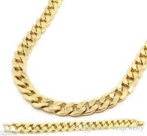 New Mens ouro prata banhado cubana Hip Hop Colar Miami cadeia pulseira Set 15 milímetros 8inch 30inch