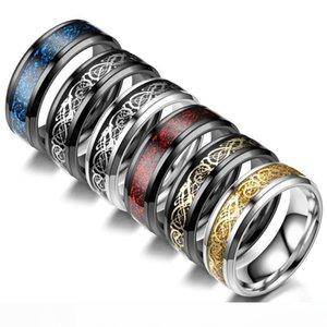Drago 8 millimetri anello della fascia Mens celtica drago nuovo carburo di tungsteno Wedding Nero Oro Argento Blu Rosso Us Dimensioni Dimensioni