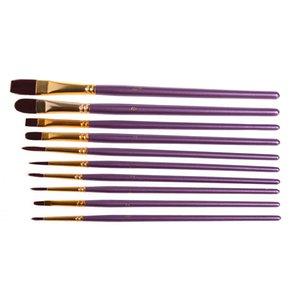 2018 Yüksek Kalite 1 Sanatçı Boya Fırçası Set Mor Naylon Saç Suluboya Akrilik Yağlıboya Fırçaları Çizim Sanat Supplie C19041701