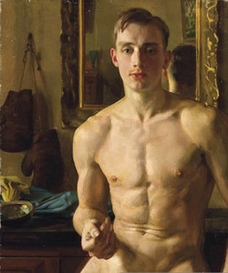 vA. Alta qualidade pintado à mão HD Imprimir Figura Art Oil Painting Decor Art nu masculino MEN na lona da parede do escritório