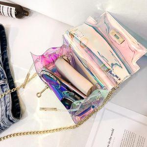 Laser Messenger Bags Candy Frauen Mode Gelee Transparent Crossbody Tasche Kunststoff Umhängetaschen Haspe Lock Ketten