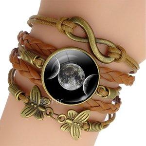 Star Pentagram Multilayer Braided Warp Leather Bracelet Triple Moon Goddess Infinity Charm Bracelet for Men Women Punk Jewelry