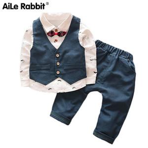 Aile Rabbit 2018 весна осень Baby Boy детской одежды мультфильм медведь ОдеждаЖенские 3шт Наборы мальчиков пальто + T рубашка + брюки Cotton300274 LY191227