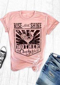Новая Мода Футболка Женщины С Коротким Рукавом Rise And Shine Мать Cluckers Печати Футболка Повседневная Женская Розовая футболка Дамы Топы Футболка
