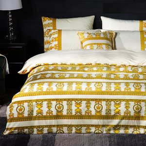 2019 Yeni Varış Ev Indooor Renkli Desen Kral Kraliçe Boyutu Avrupa Tarzı Takım Dört Mevsim Yatak Odası Tema 4 adet Yatak Setleri