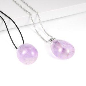 Женщины 30-42cm Большой природный Нерегулярные камень драгоценный камень аметисты ожерелье Фиолетовый Кристалл вощеный шнур ключицы цепи ювелирные изделия