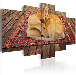 (Kein Rahmen) 5 Teile / satz Moderne Tier Sanfte Deer Kunstdruck Frameless Leinwand Malerei Wandbild Home Decoration