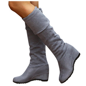 Over The Knee Wedge Boots Elastic Slip-On Large Size Retro Boot 35-43 Winter Boots For Women Plus Size