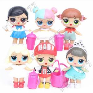 6 Pcs / lot 8CM 6 style sucette dressup lol poupées mignonnes grands yeux beauté bébé fille PVC Action Figures