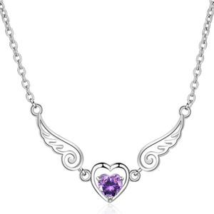 Мода Крылья Ангела форма сердца кулон ожерелье CZ Кристалл для женщин ювелирные изделия кубический цирконий День Святого Валентина подарки X367