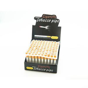 hotCigarette Forma resorte de metal Pipas de aleación de aluminio mano seca hierbas Pipes 100pcs / Box 78mm longitud una tubería Hitter Tabaco Sniffer Straw