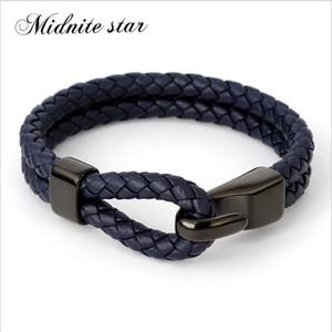 Midnite estrellas de cuero real sencilla pulsera de acero inoxidable Botón neutral nuevo clásico estilo de los hombres Accesorios mano de la pulsera tejida