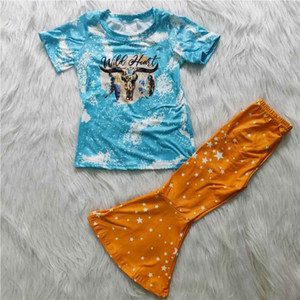 Nuove Ragazze Boutique di Abbigliamento Set mucca stampa Vendita Calda T-shirt Top Campana fondo Abiti Di Seta del latte Della Ragazza Vestiti di Estate Abiti 2020 moda