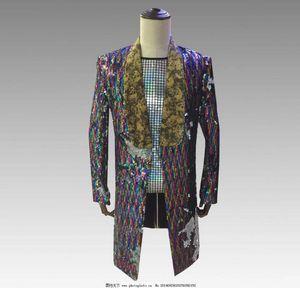cor da moda Sequins personalidade de homens longo Blazer uniforme Moda Punk Nightclub Bar DJ Singers paletó Costumes coat