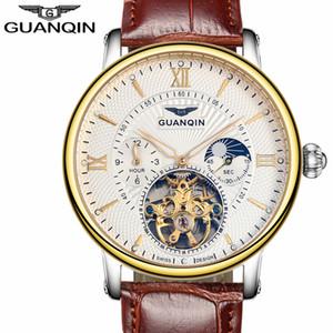 GUANQIN Luxury Top Brand Tourbillon Skeleton Наручные часы Мужчины Мода Повседневная Кожа автоматические механические часы Relogio Мужчина для