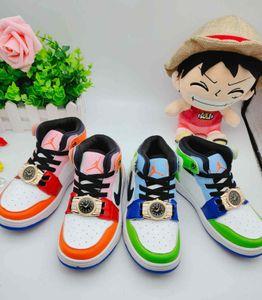 BÉBÉ 1 1S Mid Melody Ehsani sans Peur enfants Chaussures de basket pour les garçons filles Sneakers Chaussures en cuir vert Formateurs orange Taille 24-35