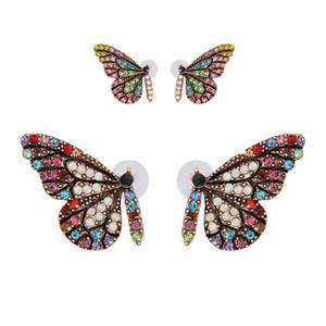 Первоначально новый цветное стекло Крыло бабочки серьга стержня ноготь с простым Темпераментом Кристалл серьга 2019 Новых эксклюзивного дизайном ювелирных изделий