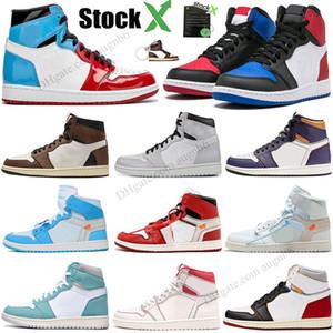 Nouveau 1 High Bred OG Toe chaussures de basket-ball de Chicago Spiderman UNC Hommes Hommage à Home Royal Bleu Hommes Designer Baskets Sneakers