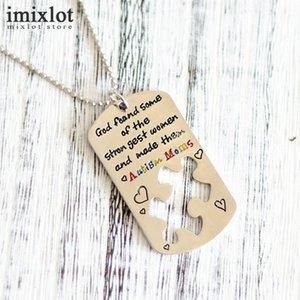 Imixlot Carved Letter Square Necklaces & Pendants Gold Color Puzzle Necklace For Men Women Autism Awareness Jewelry