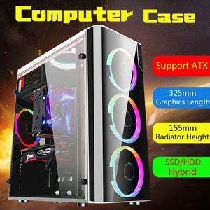 فولاذ + أكريليك USB3.0 لألعاب الكمبيوتر حالة الغطاء الجانب شفاف 5 مراوح هيكل ATX لـ M-ATX لـ Mini-ITX 38x18x40cm