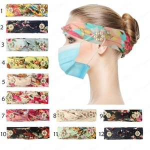 Flower Sport Yoga Hair Band With Button Buckle Prevent Ear Injury Multifunction Headband Elastic Head Wrap Headband