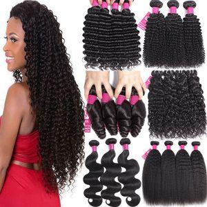 9A Brésil Human Bundles cheveux 8-30 pouces Ensemble vague profonde Curly lâche eau vague de corps droite 100% Vierge Non traité Human Hair Weave