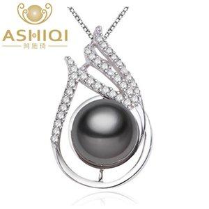 ASHIQI 10-11mm colgante de oro grande de Negro Natural Perla de Tahiti con 925 regalo joyería de plata esterlina para las mujeres
