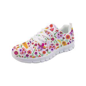 Noisydesigns 2019 Mode Étudiant Sneaker Chaussures Plate Femmes Printemps Plat Femmes Chaussures 3D Crâne Imprimer Infirmière Sport pour Fille -AQ