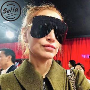 Sella nouvelle arrivée surdimensionné cadre en métal lunettes de soleil marque designer étoiles décoration hommes et femmes grand masque gothique ombre