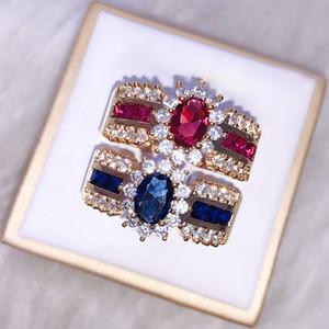 CHAMSS Мода Золото Цвет красного сапфир Циркон кольцо личность Элегантные женщины Romantic Valentine подарки завод оптом