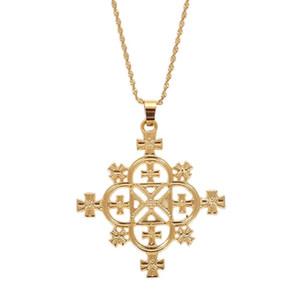 Collier Croix tendance Pendentifs éthiopienne Femmes Croix d'Or Couleur Erythrée Habesha Bijoux