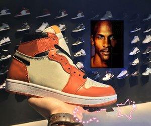 Top Quality 1 High OG Hommes Chaussures de Basketball Banni Au Toit Ombre Or Top Top Qualité Designer Hommes Athlétisme Baskets Formateurs 5 11