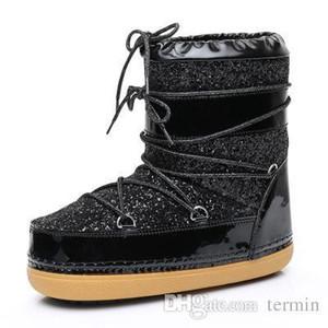 Charm2019 Mulheres Botas De Espaço Botas Para Meninas Inverno Rendas Para Plush Quente Para As Mulheres Botas De Inverno Bootillions Casuais Mulheres Sapatos De Óculos De Sol.