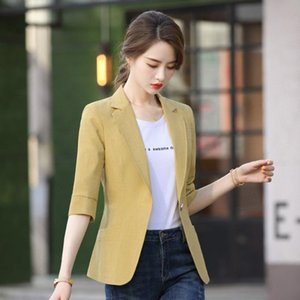 Temperament Jacket Blazer Slim Long Sleeve Single Button Three Sleeve Coat Office Lady Jacket Lady Notched Collar Blazers Coats