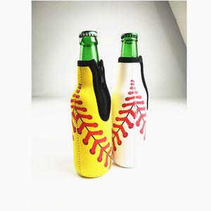Beer Bottle Koozies Zipper Neoprene Wine Bottle Coolers Baseball Softball Floral Printed Beverage Beer Sleeves Soft Drink Covers