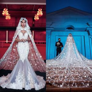 Luxe Longue De Mariée Enveloppe Voiles Avec Cap Dentelle 3D Floral Applique 300cm Cathédrale Longueur Cape Manteaux De Mariage Manteaux Pour Robes De Mariée