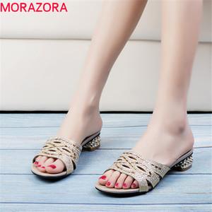 MORAZORA 2019 nova chegada mulheres chinelo de cristal saltos quadrados sapatos confortáveis sapatos de moda verão simples mulher do baile de finalistas