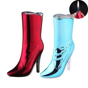 Schöne Damen Boot Gas aufblasbarer Feuerzeug Merkwürdige neue kreative Schuhe mit hohen Absätzen Flammen Feuerzeuge Frauen Rauchen Geschenk