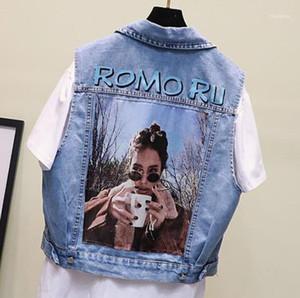 Resorte de las señoras abrigos Denim verano de las mujeres diseñador Jeans chaleco de la solapa del cuello sin mangas de las mujeres prendas de vestir exteriores azul claro