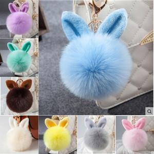 Nuova pelliccia Pom Pom Portachiavi coniglio bello catena sfera della pelliccia chiave fascini dello zaino Bunny portachiavi di Keychain per ragazze donne Regali