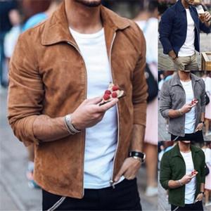 5 Farben Herren Jacken Mode Suede Retro Casaul Hip Hop Jacke lose beiläufige lange Hülsen-Jacke Herbst Street