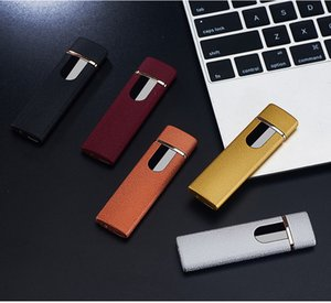 USB Rechargeable Lighters Electronic Cigarette Lighter Flameless Touch Screen Switch Colorful Windproof Lighter A486