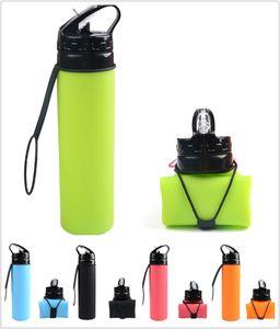 HOT NEW 20oz Силиконовые разборную бутылки воды 600мл воды Бутылки Спорт на открытом воздухе Отдых на природе Путешествия с крышкой складная силиконовой питьевой бутылки