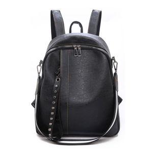 HJKL 2019 de la PU de las mujeres del cuero Mochila Moda Viajes mochilas mochilas de alta calidad para el recorrido adolescentes que Negro del bolso de escuela